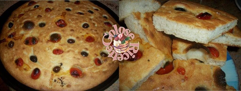 Focaccia con LICOLI condita con olive e pomodorini